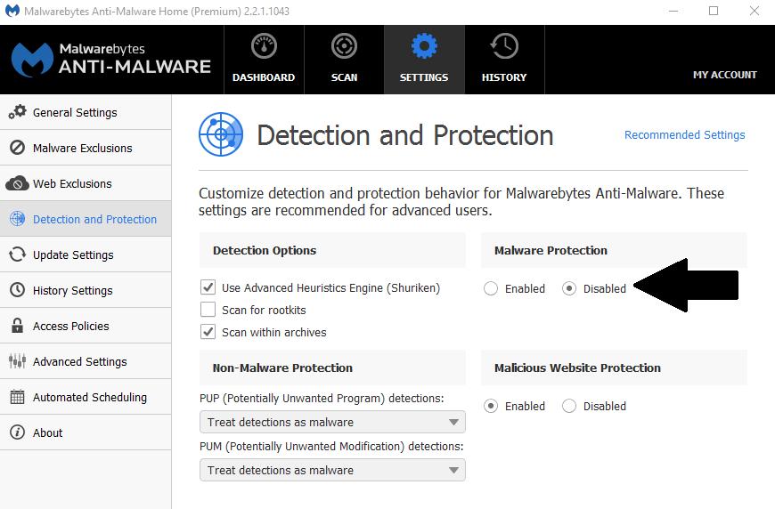 How to disable malwarebytes - press malware protection