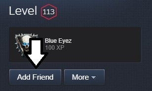 Adding a friend from Steam from their Steam profile by pressing the 'Add friend' button in the top-right