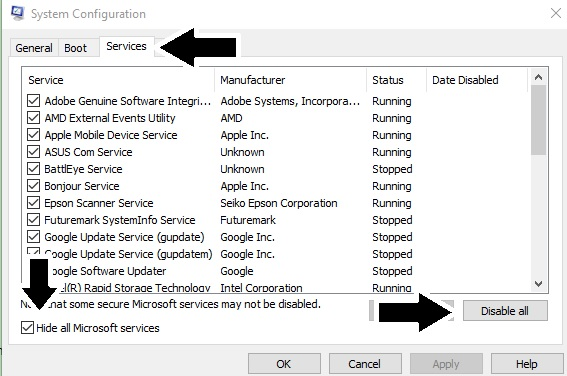 In the system configuration window, press the services button, hide all microsoft services checkbox then press disable all