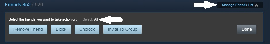 Press the black 'manage friends list' popup then press the white 'All' button that appears to select all of your Steam friends