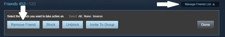 Press the black manage friends list button then the blue remove friends button that appears in the popup