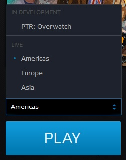 Use the drop down above the play button in the client to change your region