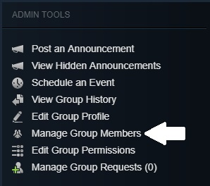 Press the manage group members button on the sidebar
