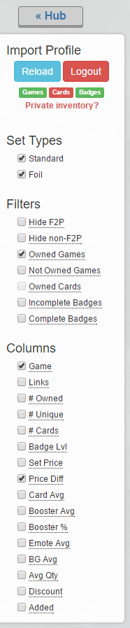 Screenshot of the options ticked