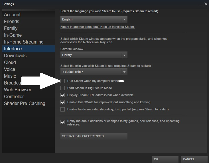 How to stop Steam from automatically launching from the interface settings window - uncheck the box