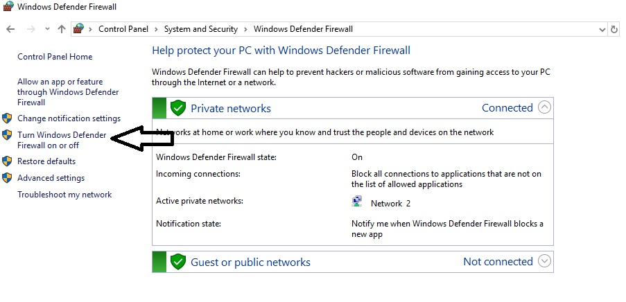 Press the turn off windows defender button on the left sidebar