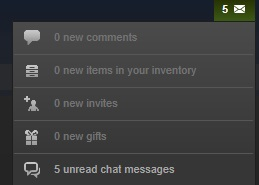 The unread chat messages notification from the notification drop-down on Steam