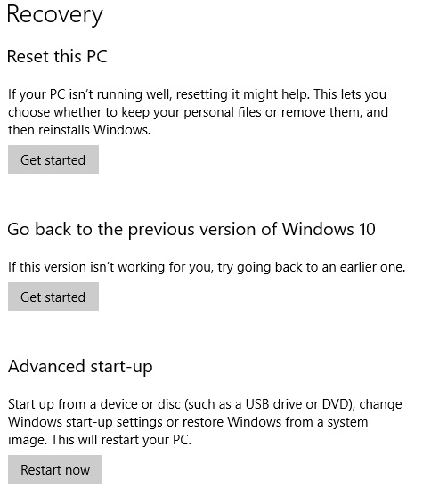 Image of recovery settings in windows 10