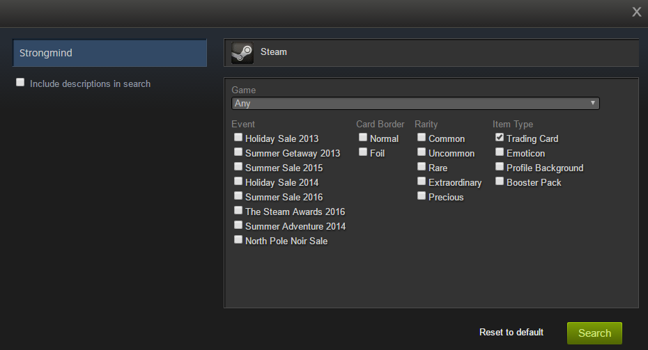 The settings for the advanced game search