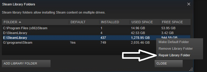 Right click on the drive you are attempting the download on and press the repair library button from the drop-down