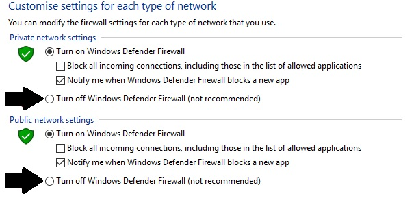 From the turn off windows defender firewall window, tick the buttons to disable both public and private firewall settings temporarily